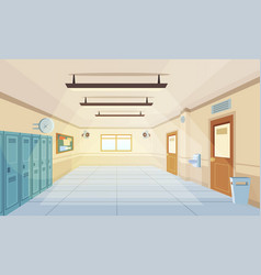 color cartoon high school hallway vector image