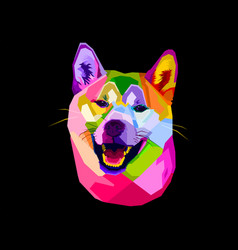 colorful shiba inu dog on pop art style vector image