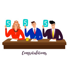 competition jury contest judges with score panels vector image