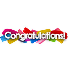 Congratulations banner with brush strokes vector