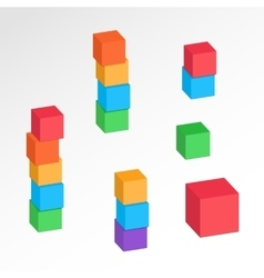 Cube combination icons set Perspective view vector