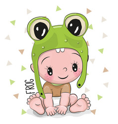 cute cartoon baby boy in a frog hat vector image