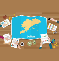 Dalian china liaoning province city region vector