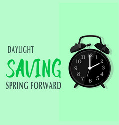 Daylight saving time and green background vector
