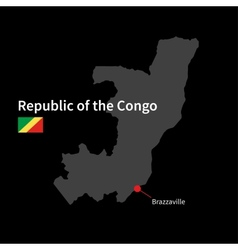 Detailed map of Republic of the Congo and capital vector image