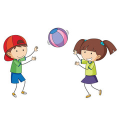 Doodle children playing ball vector