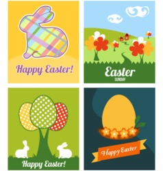 Easter cards with rabbits and eggs vector