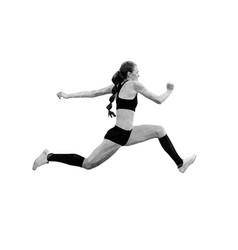 Female athlete jumper triple jump vector