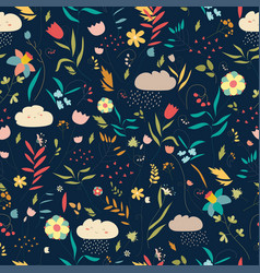 Floral pattern with flowers leaves and clouds vector