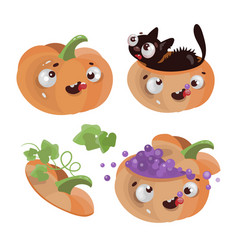fun pumpkins happy halloween cartoon vector image