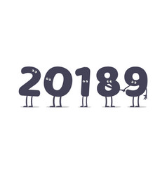 funny cartoon 2019 new year vector image