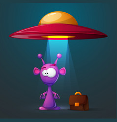 Funny cute alien with big eye and ear vector