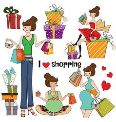 Girls at shopping items set on white background vector
