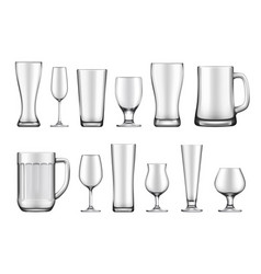 glass goblets mugs and jars set vector image