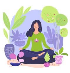 green lifestyle home yoga flat vector image