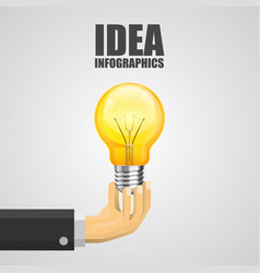 hand holding a light bulb vector image