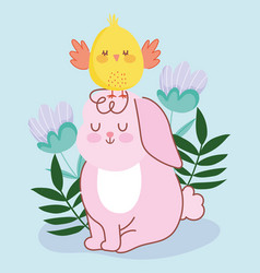 happy easter pink rabbit sitting with chicken in vector image