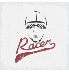 Head of racer vintage grunge design template vector