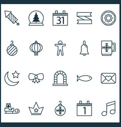Holiday icons set with crown close envelope sled vector