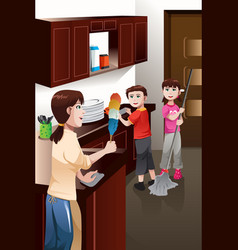 Kids helping their parent cleaning house vector