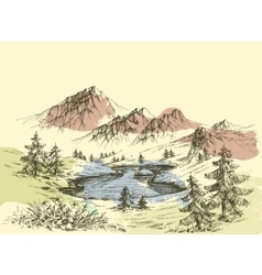 Lake in the mountains vector image
