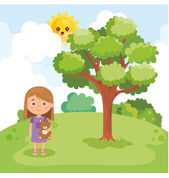 little girl playing on the park vector image