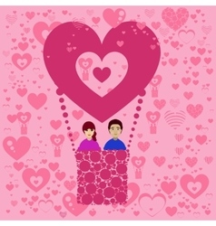 Lovers n balloon Valentine s Day vector