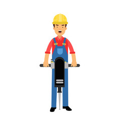 Male construction worker character holding vector