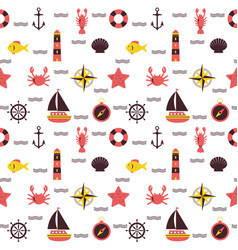 marine cartoon seamless pattern sea theme vector image vector image