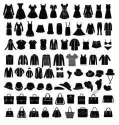 Men and Women Clothes and accessories silhouette vector image