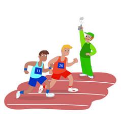 Men running in race vector