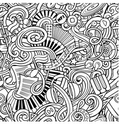 Music hand drawn doodles seamless pattern musical vector