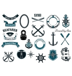 Nautical and marine heraldic elements vector image
