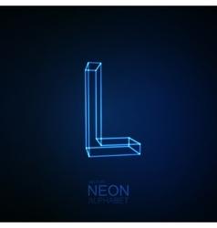 Neon 3D letter L vector