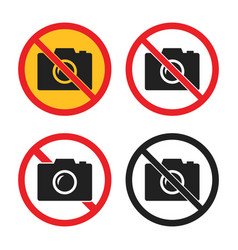no camera icons set no photo signs vector image
