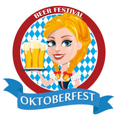 oktoberfest flyer with sexy redhead girl holding vector image
