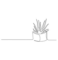 One continuous line drawing house plant in pot vector