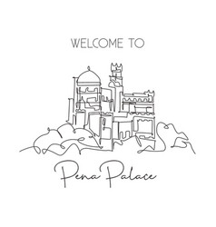 one single line drawing pena palace landmark vector image