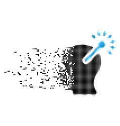 Optical neural interface dissolving pixel icon vector