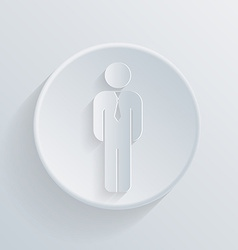 Paper circle flat icon business man in a tie vector