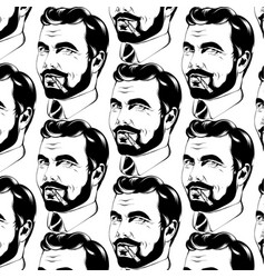 Pattern with hand drawn man vector