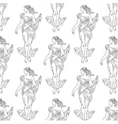 Pattern with hand drawn woman with greek vector