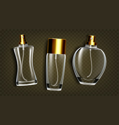 Perfumery products toilet water mockup set vector