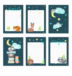 planner template with cute sleeping animals vector image