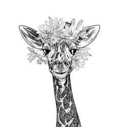 portrait cute giraffe with flowers on his head vector image