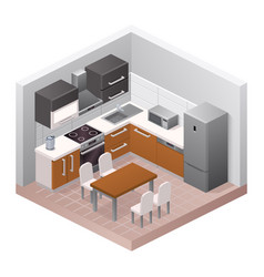 Realistic isometric kitchen vector