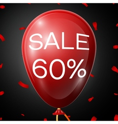 Red baloon with 60 percent discounts over black vector