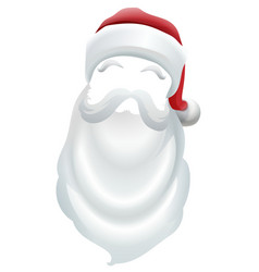 santa claus red hat and white beard vector image