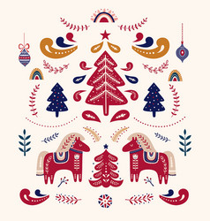 scandinavian folk christmas with decorative vector image