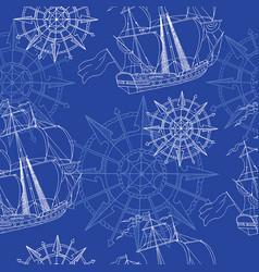 Seamless background with sailboats and compass vector